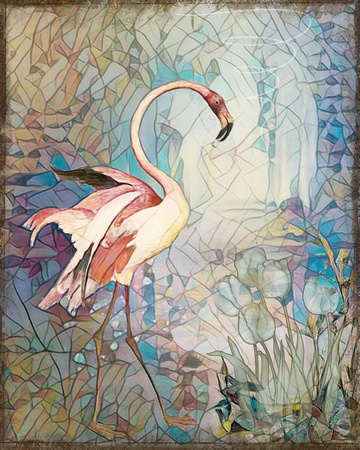 Etching of a Pink Flamingo